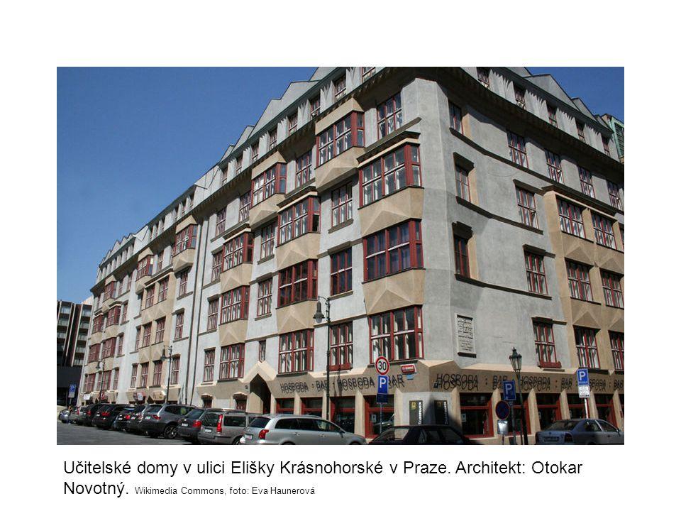 Učitelské domy v ulici Elišky Krásnohorské v Praze. Architekt: Otokar Novotný. Wikimedia Commons, foto: Eva Haunerová