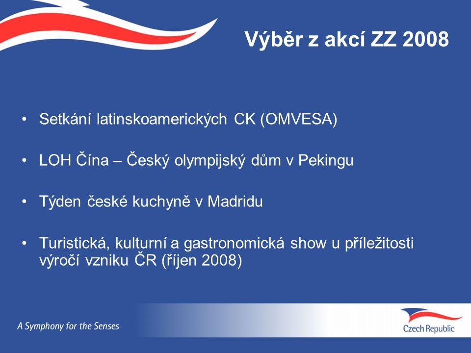 Výběr z akcí ZZ 2008 Setkání latinskoamerických CK (OMVESA) LOH Čína – Český olympijský dům v Pekingu Týden české kuchyně v Madridu Turistická, kultur
