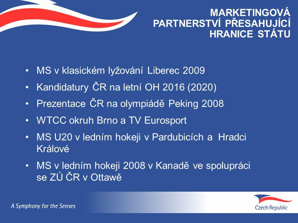 MS v klasickém lyžování Liberec 2009 Kandidatury ČR na letní OH 2016 (2020) Prezentace ČR na olympiádě Peking 2008 WTCC okruh Brno a TV Eurosport MS U
