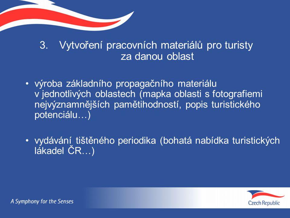 3. Vytvoření pracovních materiálů pro turisty za danou oblast výroba základního propagačního materiálu v jednotlivých oblastech (mapka oblasti s fotog