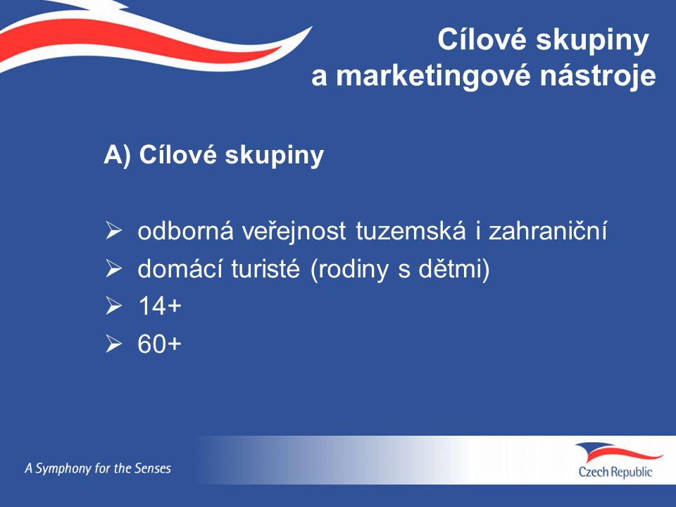 A) Cílové skupiny  odborná veřejnost tuzemská i zahraniční  domácí turisté (rodiny s dětmi)  14+  60+ Cílové skupiny a marketingové nástroje