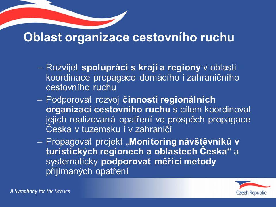 Oblast organizace cestovního ruchu –Rozvíjet spolupráci s kraji a regiony v oblasti koordinace propagace domácího i zahraničního cestovního ruchu –Pod