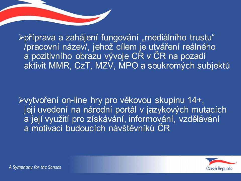 """ příprava a zahájení fungování """"mediálního trustu"""" /pracovní název/, jehož cílem je utváření reálného a pozitivního obrazu vývoje CR v ČR na pozadí a"""