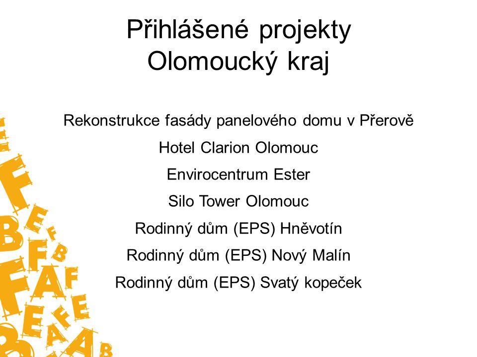 Přihlášené projekty Olomoucký kraj Rekonstrukce fasády panelového domu v Přerově Hotel Clarion Olomouc Envirocentrum Ester Silo Tower Olomouc Rodinný dům (EPS) Hněvotín Rodinný dům (EPS) Nový Malín Rodinný dům (EPS) Svatý kopeček
