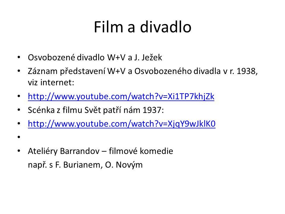 Film a divadlo Osvobozené divadlo W+V a J. Ježek Záznam představení W+V a Osvobozeného divadla v r. 1938, viz internet: http://www.youtube.com/watch?v
