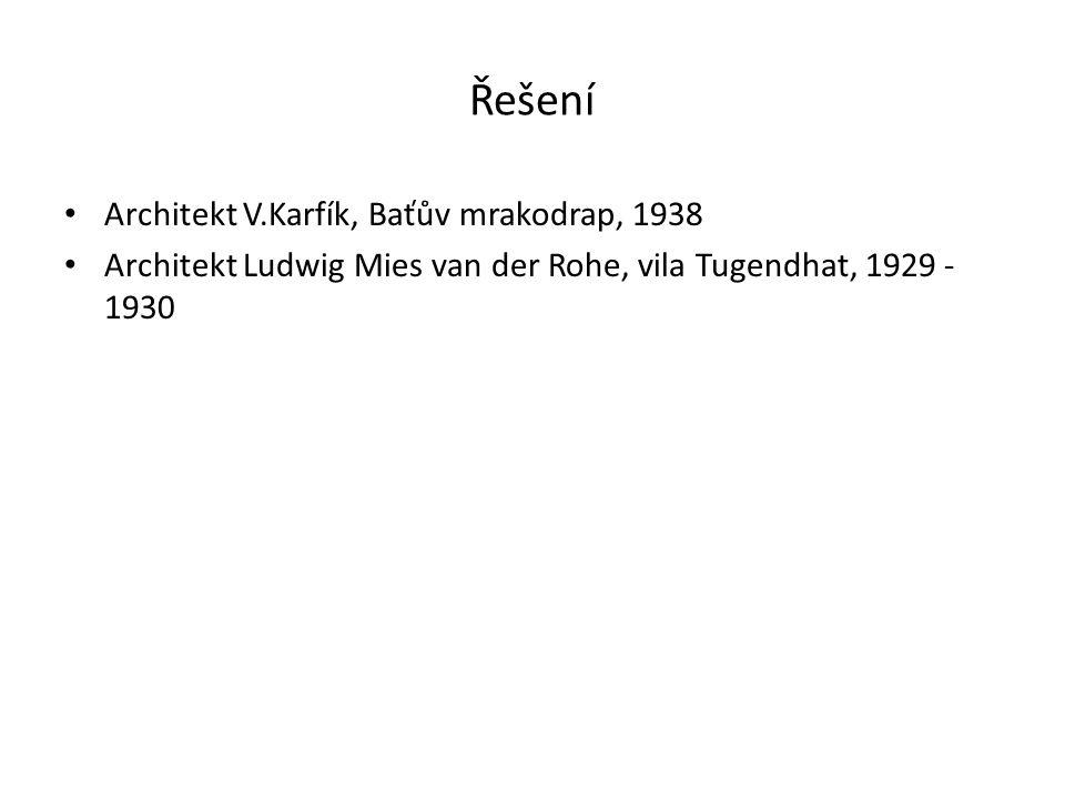 Řešení Architekt V.Karfík, Baťův mrakodrap, 1938 Architekt Ludwig Mies van der Rohe, vila Tugendhat, 1929 - 1930