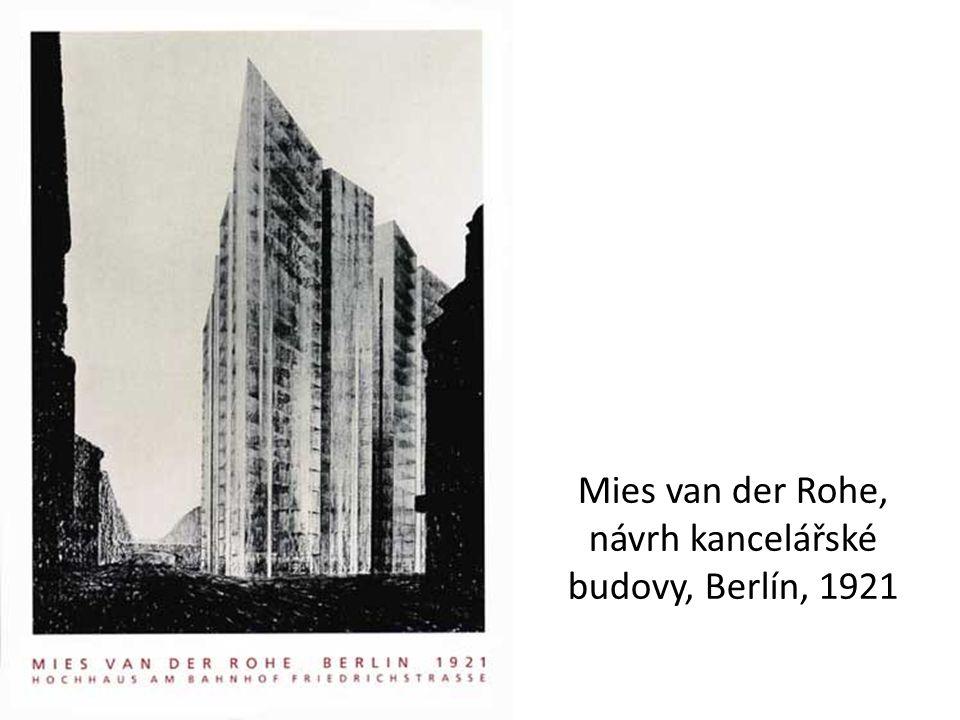 Mies van der Rohe, návrh kancelářské budovy, Berlín, 1921