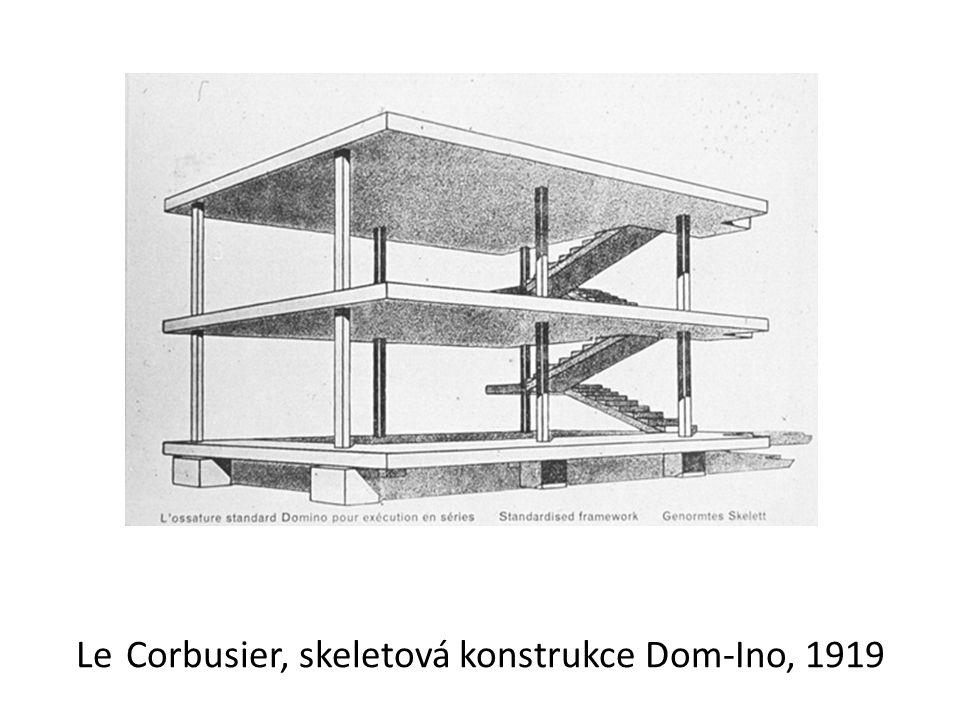 Le Corbusier, skeletová konstrukce Dom-Ino, 1919