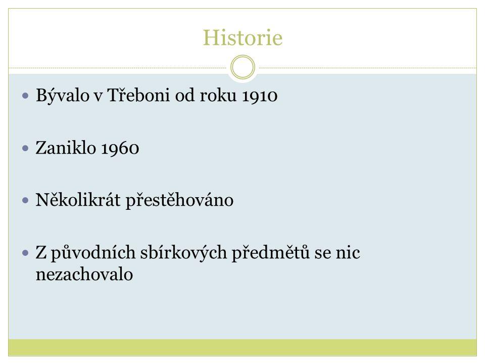 Historie Bývalo v Třeboni od roku 1910 Zaniklo 1960 Několikrát přestěhováno Z původních sbírkových předmětů se nic nezachovalo