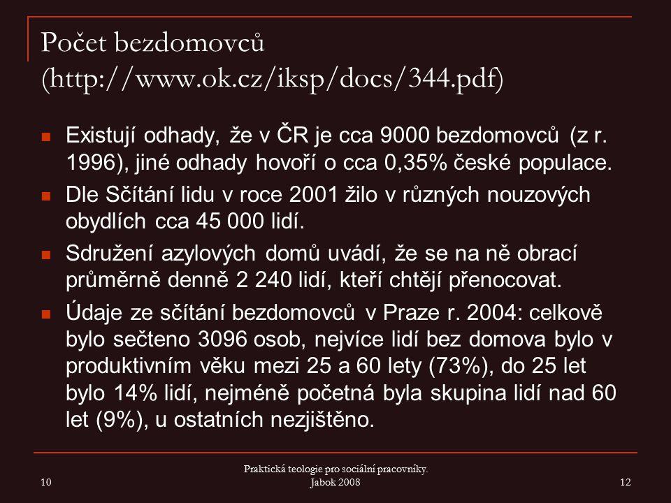 Počet bezdomovců (http://www.ok.cz/iksp/docs/344.pdf) Existují odhady, že v ČR je cca 9000 bezdomovců (z r. 1996), jiné odhady hovoří o cca 0,35% česk