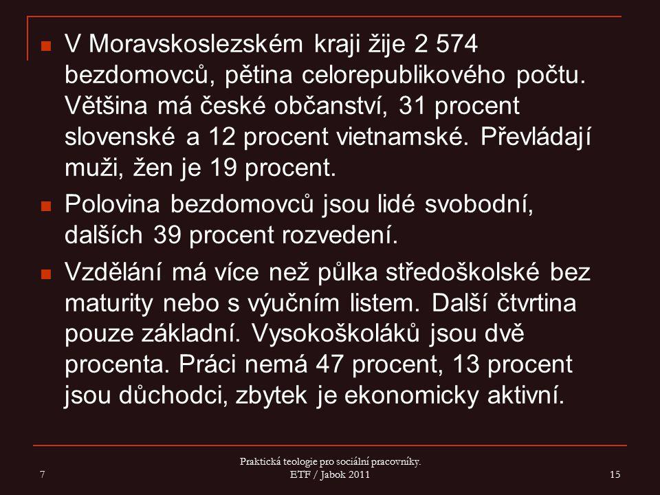 V Moravskoslezském kraji žije 2 574 bezdomovců, pětina celorepublikového počtu. Většina má české občanství, 31 procent slovenské a 12 procent vietnams