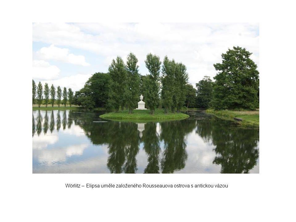 Wörlitz – Elipsa uměle založeného Rousseauova ostrova s antickou vázou