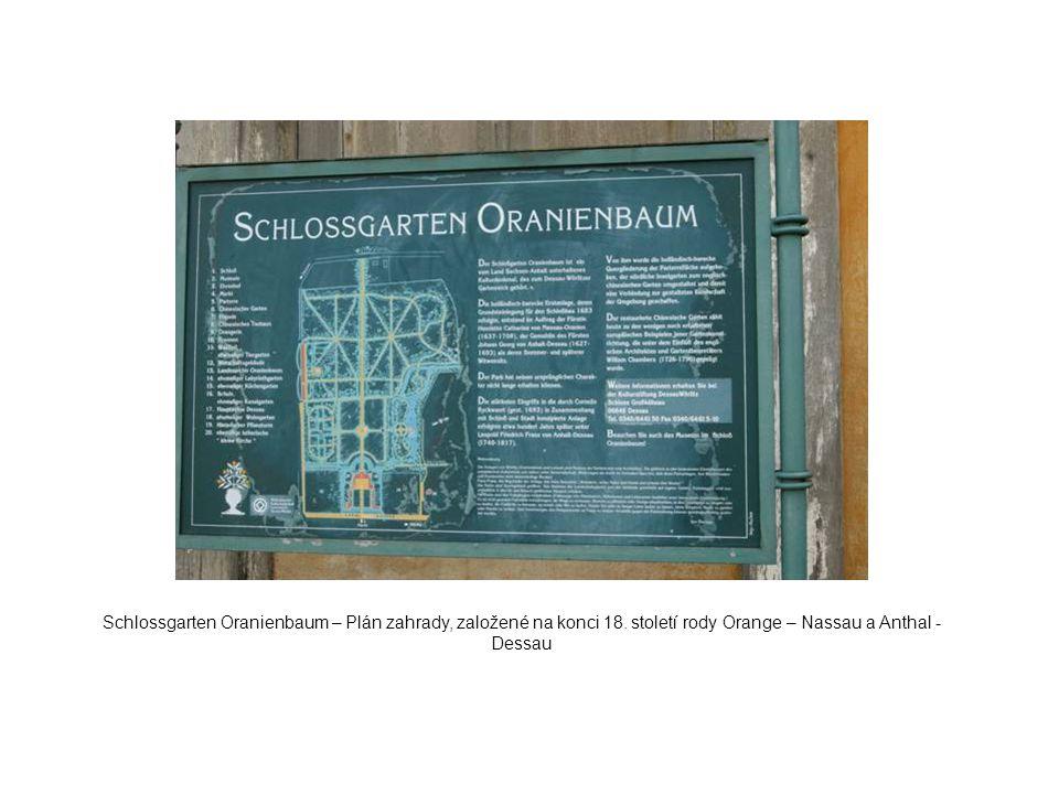 Schlossgarten Oranienbaum – Plán zahrady, založené na konci 18. století rody Orange – Nassau a Anthal - Dessau