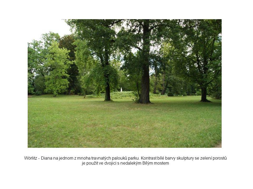 Wörlitz - Diana na jednom z mnoha travnatých palouků parku. Kontrast bílé barvy skulptury se zelení porostů je použit ve dvojici s nedalekým Bílým mos