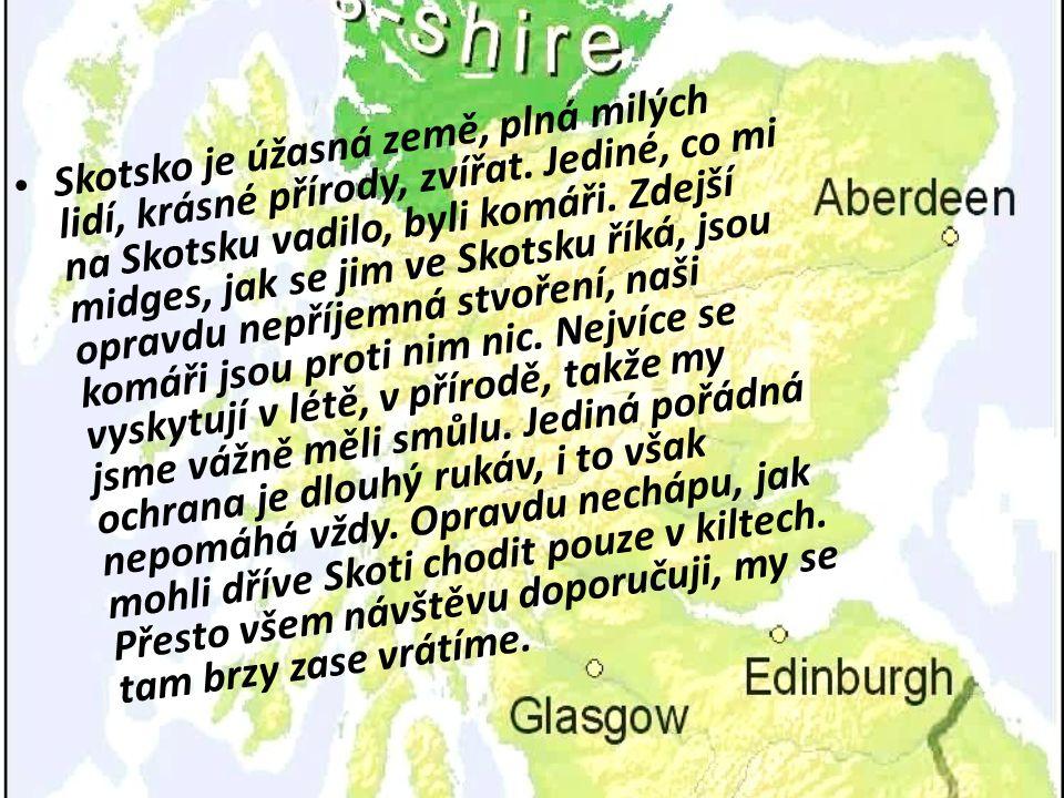 Skotsko je úžasná země, plná milých lidí, krásné přírody, zvířat. Jediné, co mi na Skotsku vadilo, byli komáři. Zdejší midges, jak se jim ve Skotsku ř
