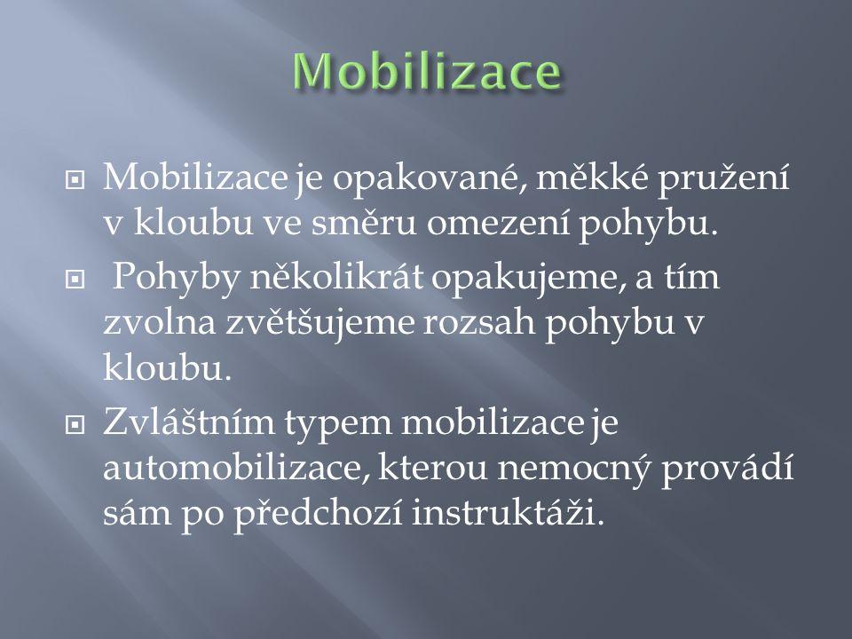  Mobilizace je opakované, měkké pružení v kloubu ve směru omezení pohybu.  Pohyby několikrát opakujeme, a tím zvolna zvětšujeme rozsah pohybu v klou