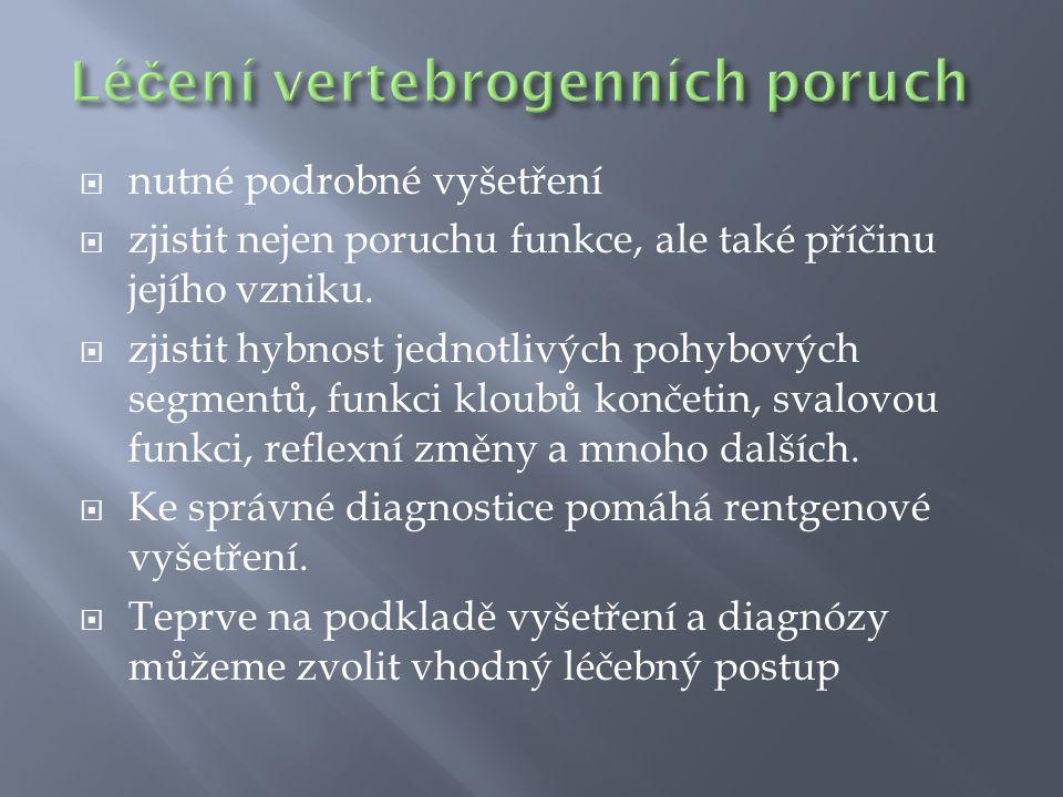  nutné podrobné vyšetření  zjistit nejen poruchu funkce, ale také příčinu jejího vzniku.  zjistit hybnost jednotlivých pohybových segmentů, funkci