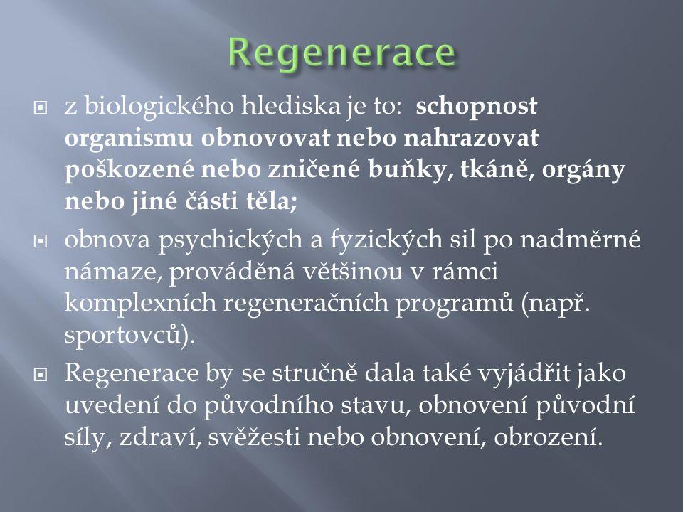  z biologického hlediska je to: schopnost organismu obnovovat nebo nahrazovat poškozené nebo zničené buňky, tkáně, orgány nebo jiné části těla;  obn