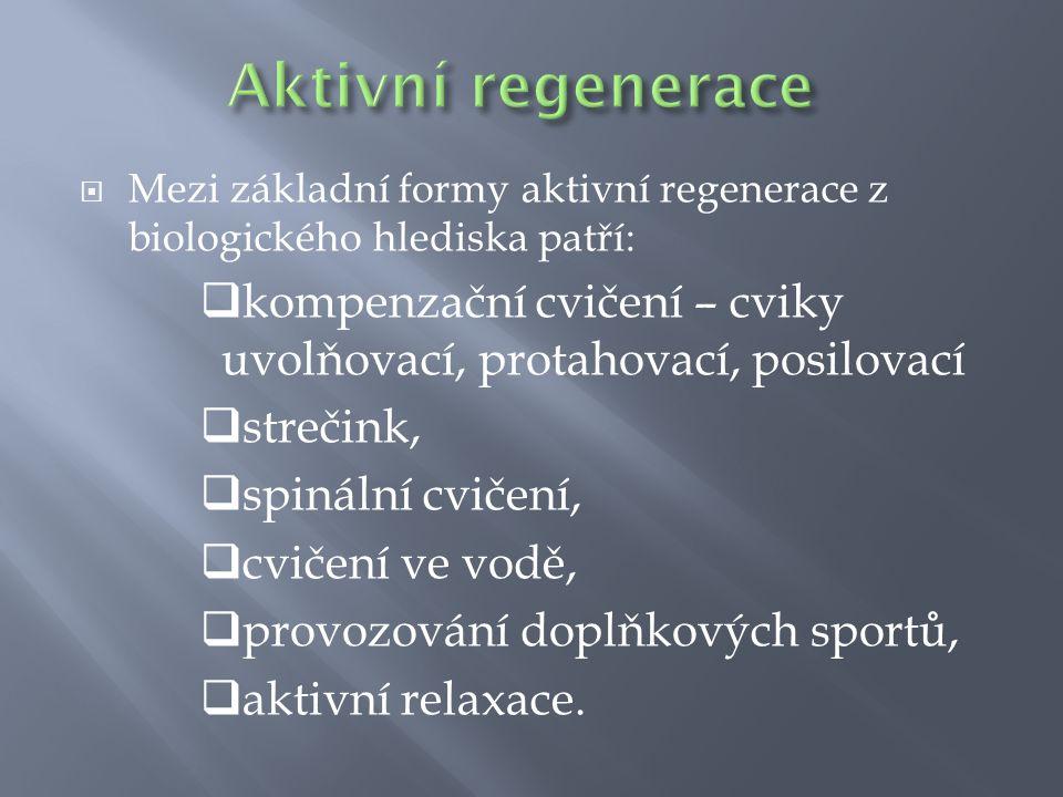  Mezi základní formy aktivní regenerace z biologického hlediska patří:  kompenzační cvičení – cviky uvolňovací, protahovací, posilovací  strečink,