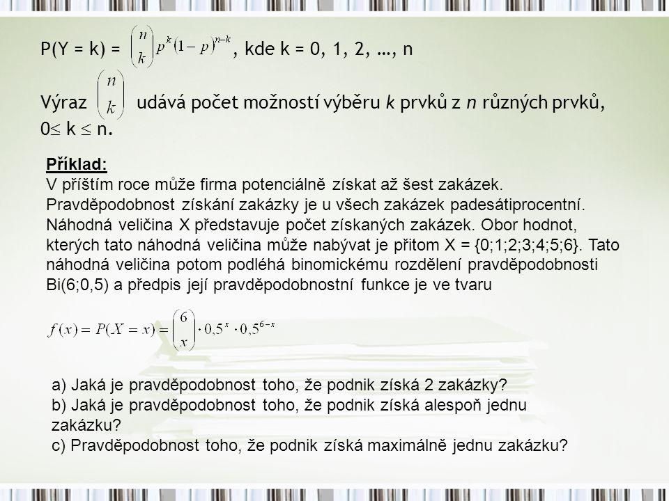 P(Y = k) =, kde k = 0, 1, 2, …, n Výraz udává počet možností výběru k prvků z n různých prvků, 0  k  n. Příklad: V příštím roce může firma potenciál