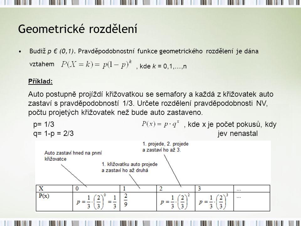 Geometrické rozdělení Budiž p Є (0,1). Pravděpodobnostní funkce geometrického rozdělení je dána vztahem, kde k = 0,1,…,n Příklad: Auto postupně projíž