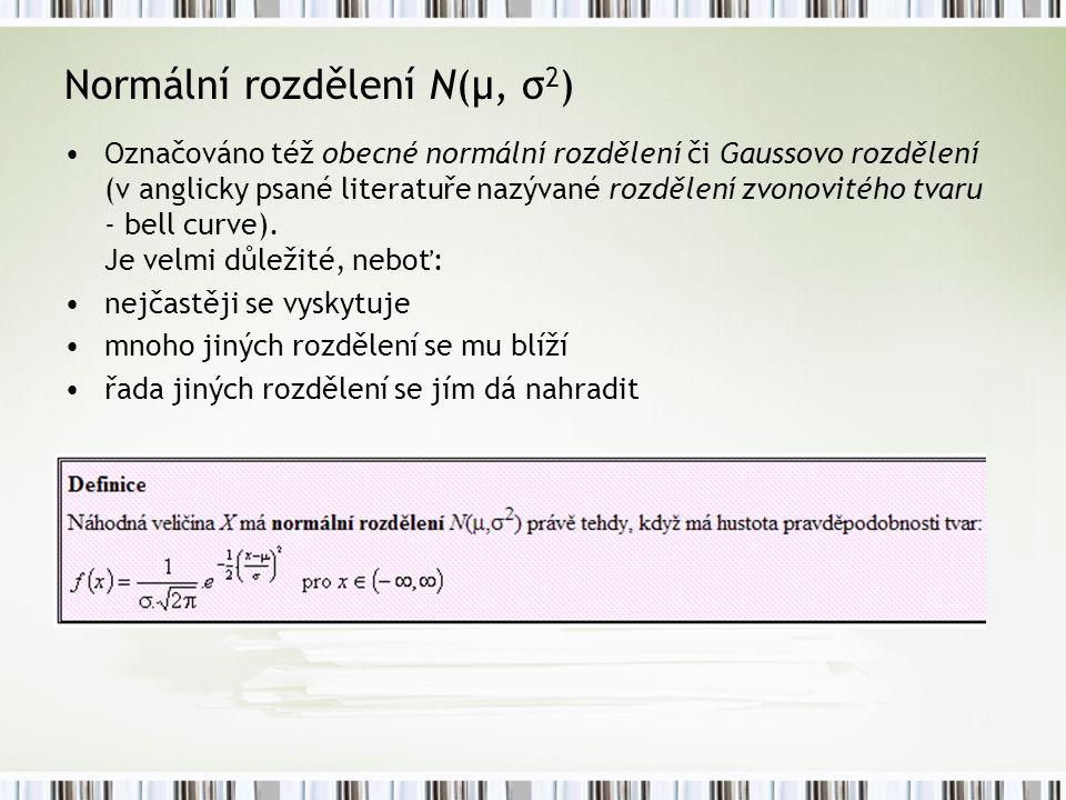 Normální rozdělení N(μ, σ 2 ) Označováno též obecné normální rozdělení či Gaussovo rozdělení (v anglicky psané literatuře nazývané rozdělení zvonovité
