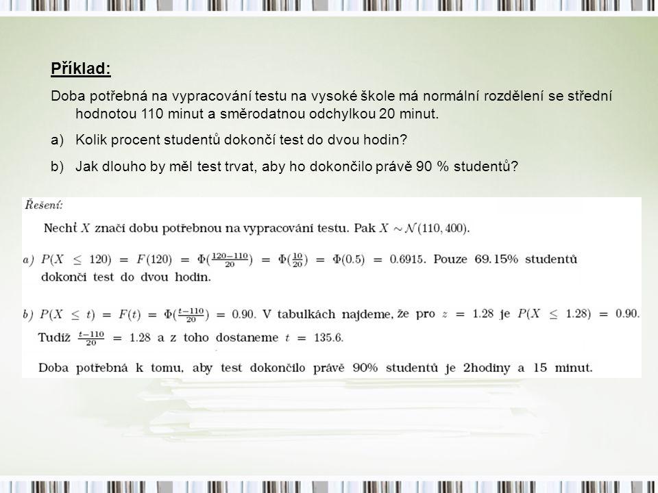 Příklad: Doba potřebná na vypracování testu na vysoké škole má normální rozdělení se střední hodnotou 110 minut a směrodatnou odchylkou 20 minut. a)Ko