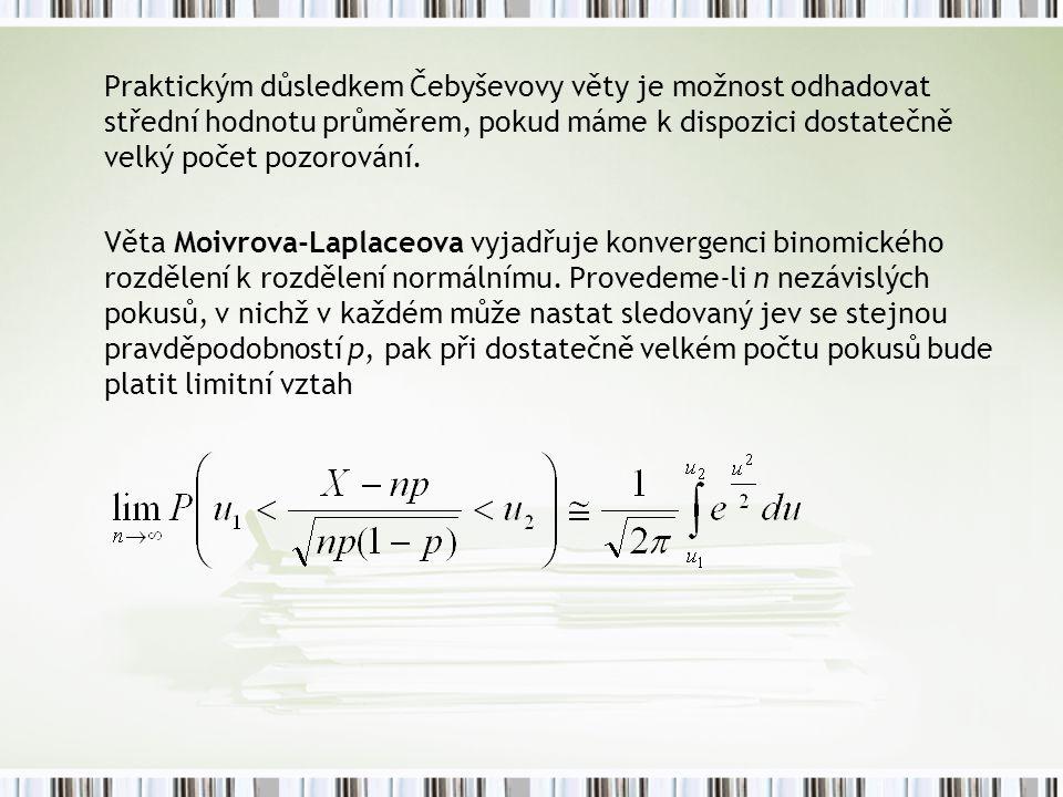 Praktickým důsledkem Čebyševovy věty je možnost odhadovat střední hodnotu průměrem, pokud máme k dispozici dostatečně velký počet pozorování. Věta Moi