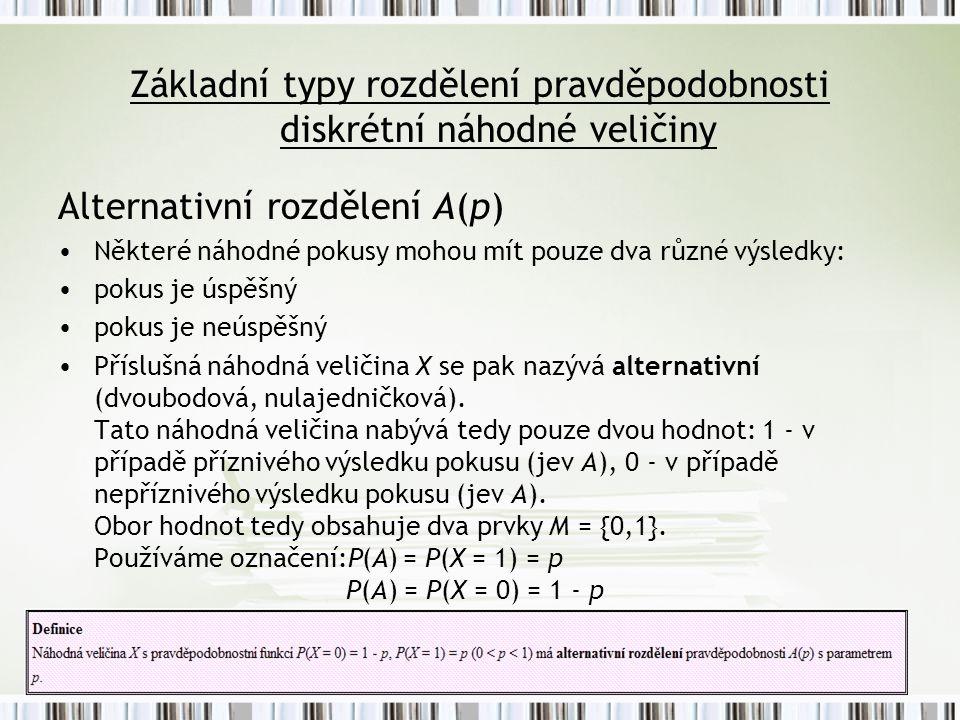 Základní typy rozdělení pravděpodobnosti diskrétní náhodné veličiny Alternativní rozdělení A(p) Některé náhodné pokusy mohou mít pouze dva různé výsle