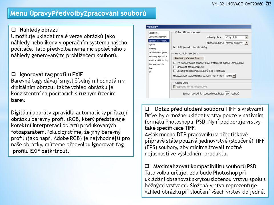 VY_32_INOVACE_OVF20660_ŽIŽ  Náhledy obrazu Umožňuje ukládat malé verze obrázků jako náhledy nebo ikony v operačním systému našeho počítače.