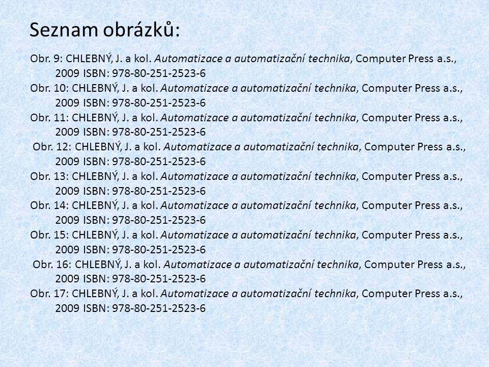 Seznam obrázků: Obr. 9: CHLEBNÝ, J. a kol. Automatizace a automatizační technika, Computer Press a.s., 2009 ISBN: 978-80-251-2523-6 Obr. 10: CHLEBNÝ,