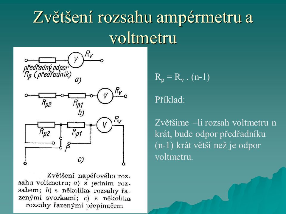 Zvětšení rozsahu ampérmetru a voltmetru R p = R v.