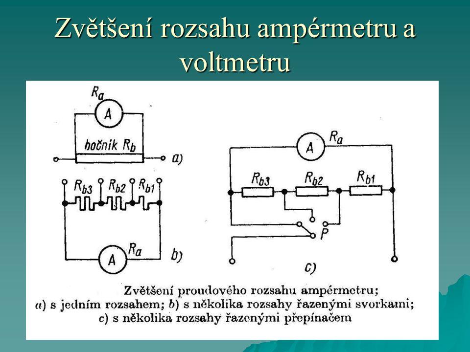  Příklad:  Zvětšíme-li rozsah 5x, jeden díl proudu poteče přístrojem a 4 díly proudu potečou bočníkem.