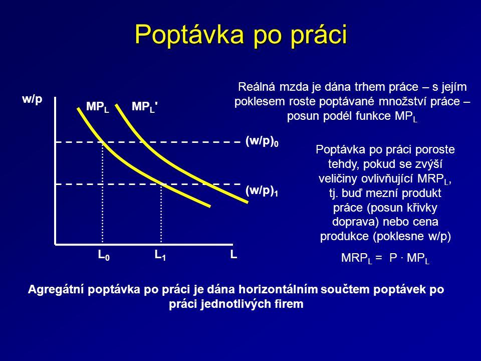 Poptávka po práci MP L w/p L (w/p) 0 (w/p) 1 L0L0 L1L1 Reálná mzda je dána trhem práce – s jejím poklesem roste poptávané množství práce – posun podél