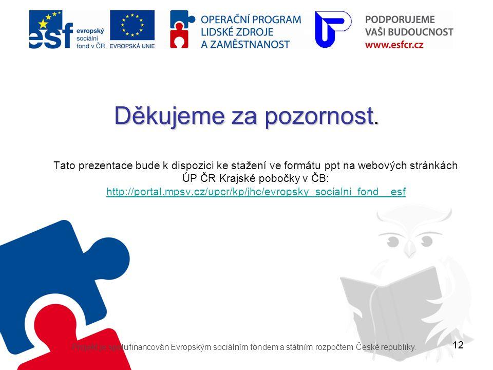 12 Děkujeme za pozornost. Tato prezentace bude k dispozici ke stažení ve formátu ppt na webových stránkách ÚP ČR Krajské pobočky v ČB: http://portal.m