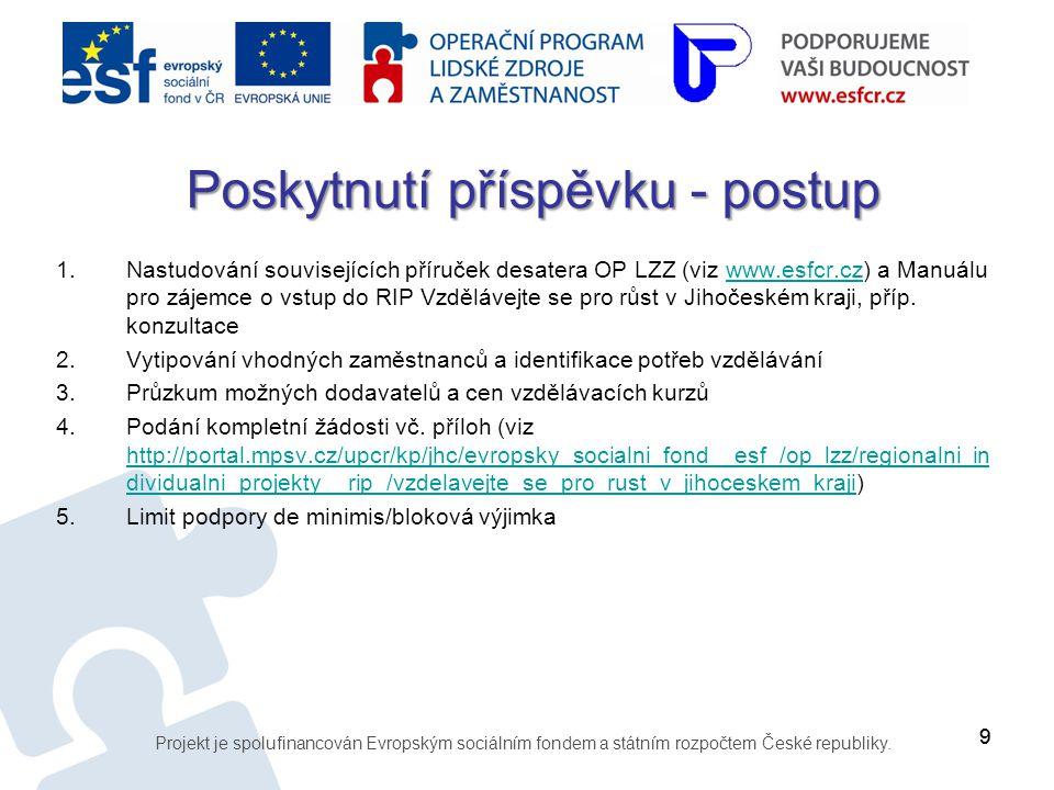 99 1.Nastudování souvisejících příruček desatera OP LZZ (viz www.esfcr.cz) a Manuálu pro zájemce o vstup do RIP Vzdělávejte se pro růst v Jihočeském k