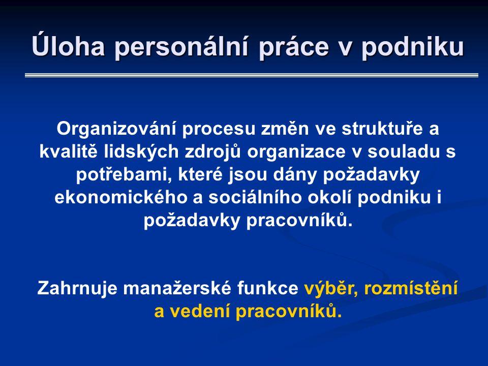 Úloha personální práce v podniku Organizování procesu změn ve struktuře a kvalitě lidských zdrojů organizace v souladu s potřebami, které jsou dány po