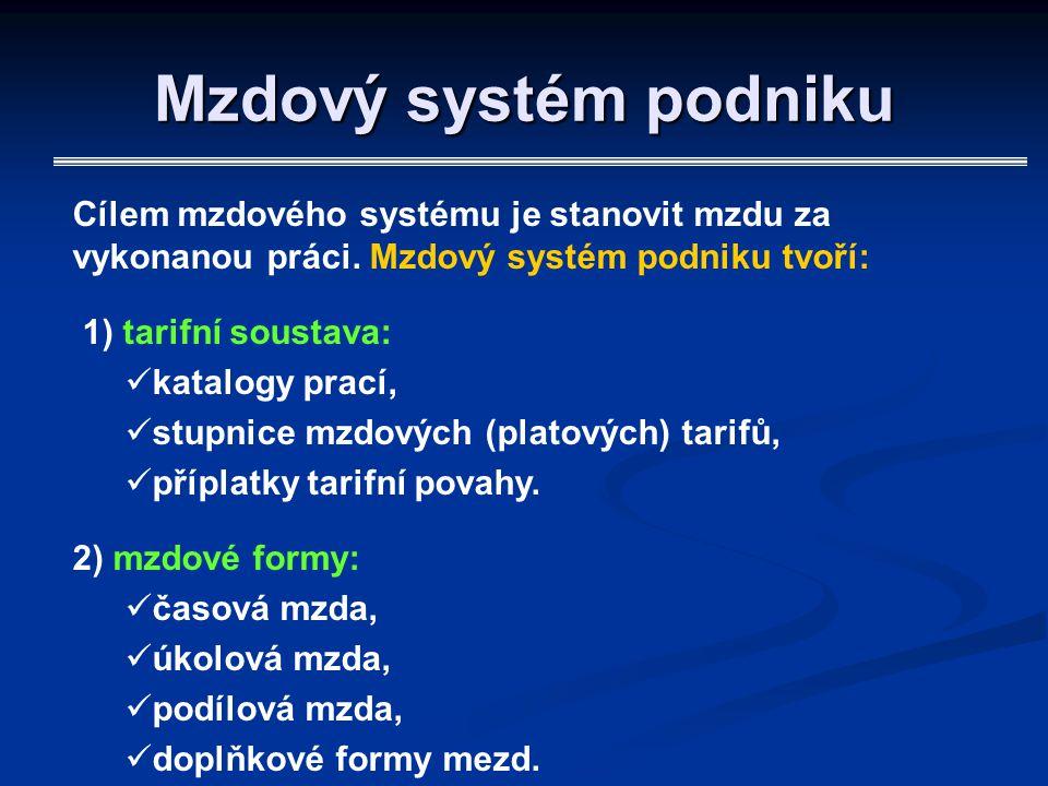 Mzdový systém podniku Cílem mzdového systému je stanovit mzdu za vykonanou práci. Mzdový systém podniku tvoří: 1) tarifní soustava: katalogy prací, st