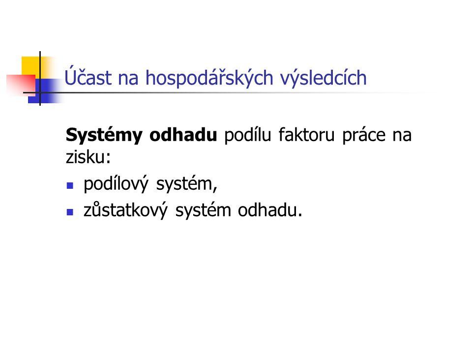 Účast na hospodářských výsledcích Systémy odhadu podílu faktoru práce na zisku: podílový systém, zůstatkový systém odhadu.