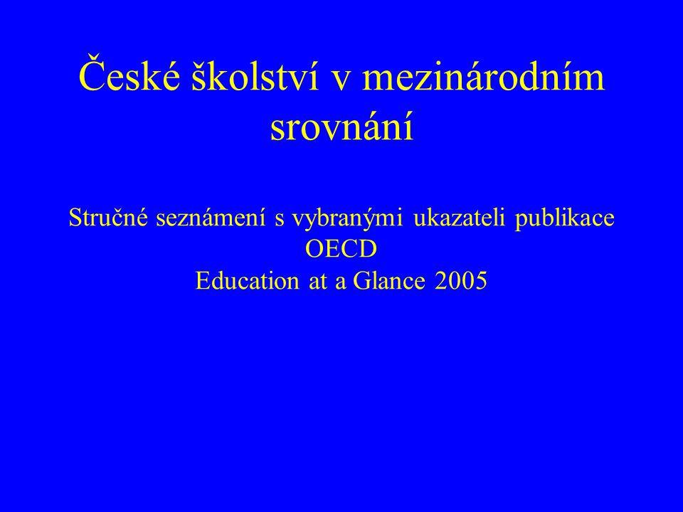 B1 ZMĚNY VE VÝDAJÍCH NA ŽÁKA výdaje na studenta na primární, sekundární a post- sekundární neterciární vzdělávací úrovni vzrostly mezi roky 1995 a 2002 o cca 30 % v Austrálii, Řecku, Norsku, Portugalsku, Irsku, Polsku, Španělsku a Turecku –ve třinácti z 23 zemí OECD výdaje na studenta vzrostly o více než 20 % v porovnání s rokem 1995 –Česká republika vykazují po poklesu v předchozích letech stagnaci v pěti z 23 zemí OECD výdaje na studenta terciárního vzdělávání mezi roky 1995 a 2002 poklesly –ve všech těchto zemích prudce vzrostly počty studentů o více než 30 % –v České republice vzrostly celkové počty studentů o 70 %, zatímco výdaje v meziobdobí 1995 – 2002 vzrostly pouze o 18 %, výdaje na studenty tedy poklesly o 31 %