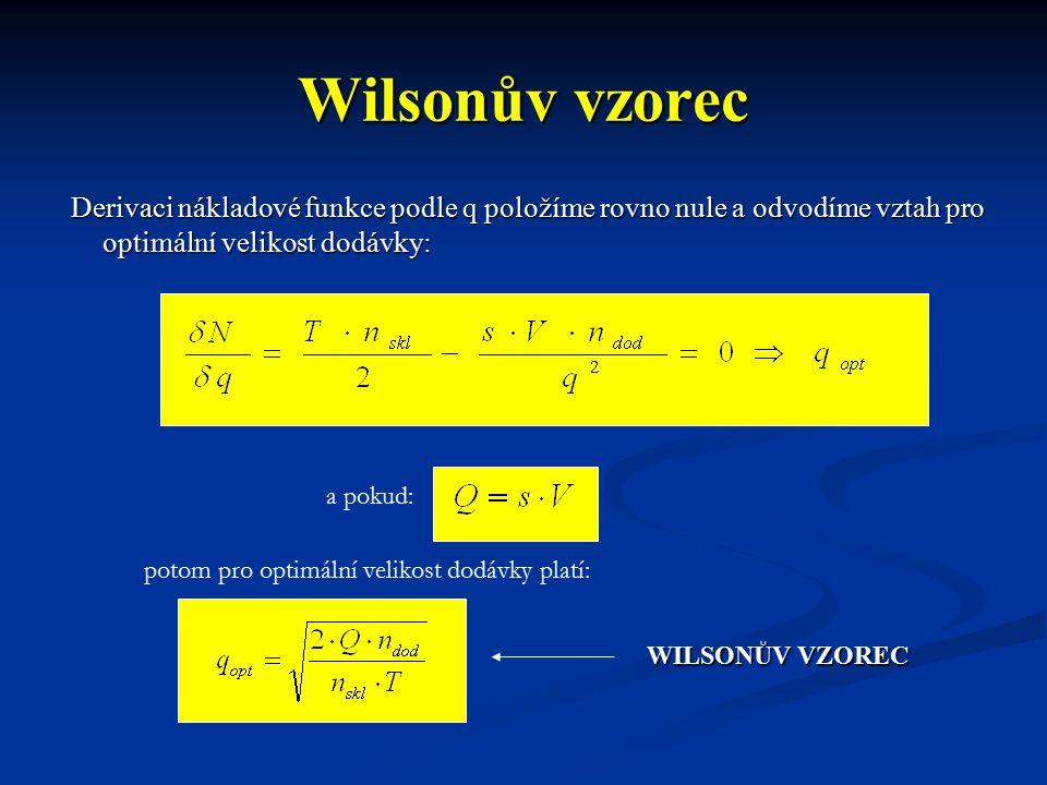 Wilsonův vzorec Derivaci nákladové funkce podle q položíme rovno nule a odvodíme vztah pro optimální velikost dodávky: Derivaci nákladové funkce podle q položíme rovno nule a odvodíme vztah pro optimální velikost dodávky: a pokud: potom pro optimální velikost dodávky platí: WILSONŮV VZOREC