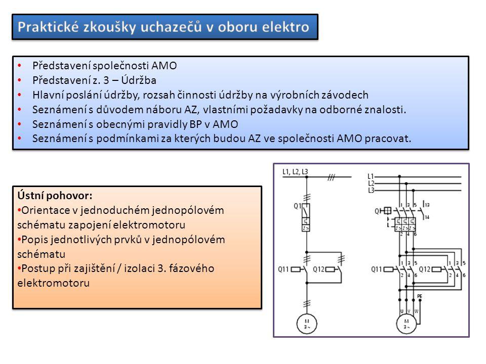 Představení společnosti AMO Představení z. 3 – Údržba Hlavní poslání údržby, rozsah činnosti údržby na výrobních závodech Seznámení s důvodem náboru A