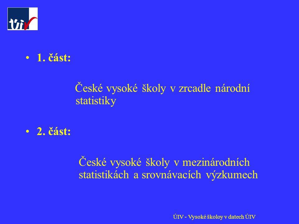 ÚIV - Vysoké školoy v datech ÚIV 1. část: České vysoké školy v zrcadle národní statistiky 2.