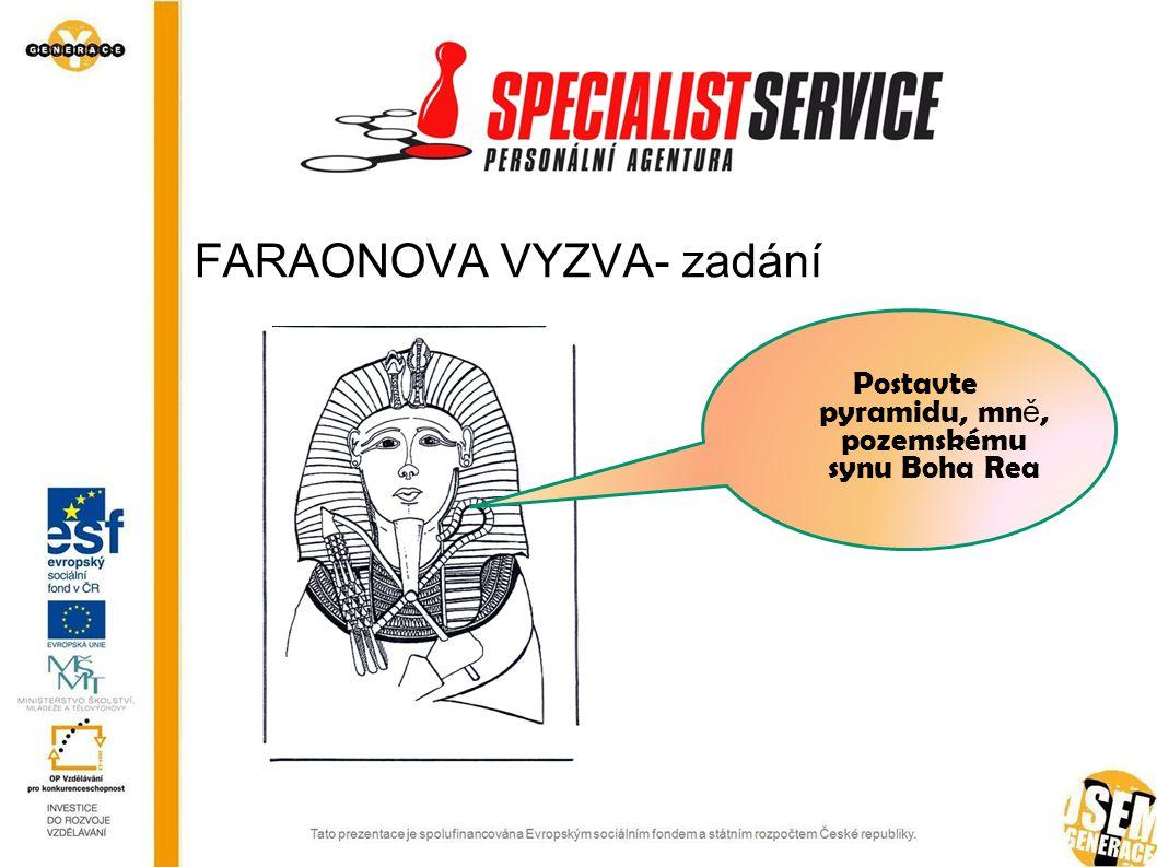 FARAONOVA VYZVA- zadání Postavte pyramidu, mn ě, pozemskému synu Boha Rea