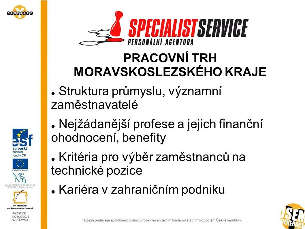PRACOVNÍ TRH MORAVSKOSLEZSKÉHO KRAJE Struktura průmyslu, významní zaměstnavatelé Nejžádanější profese a jejich finanční ohodnocení, benefity Kritéria pro výběr zaměstnanců na technické pozice Kariéra v zahraničním podniku