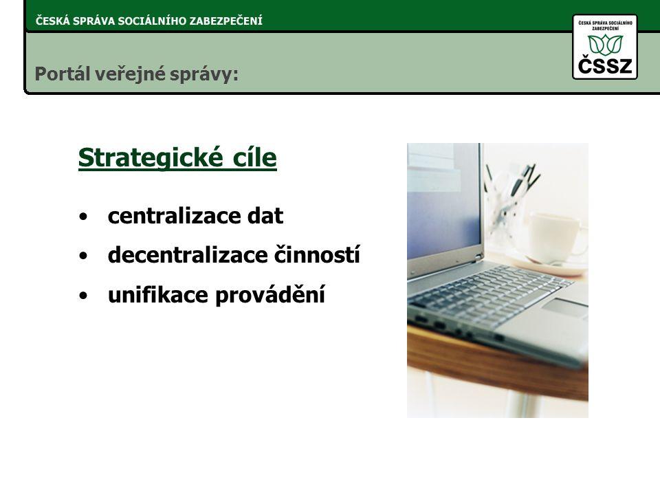 Strategické cíle centralizace dat decentralizace činností unifikace provádění Portál veřejné správy: