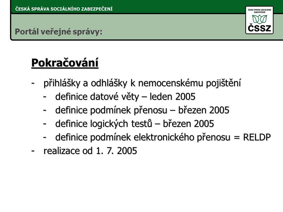 Kdyby zaslaly RELDP všechny registrované organizace, nahradí 1 641 416 tiskopisů. Dopad k 1. 3. 2005 Portál veřejné správy: