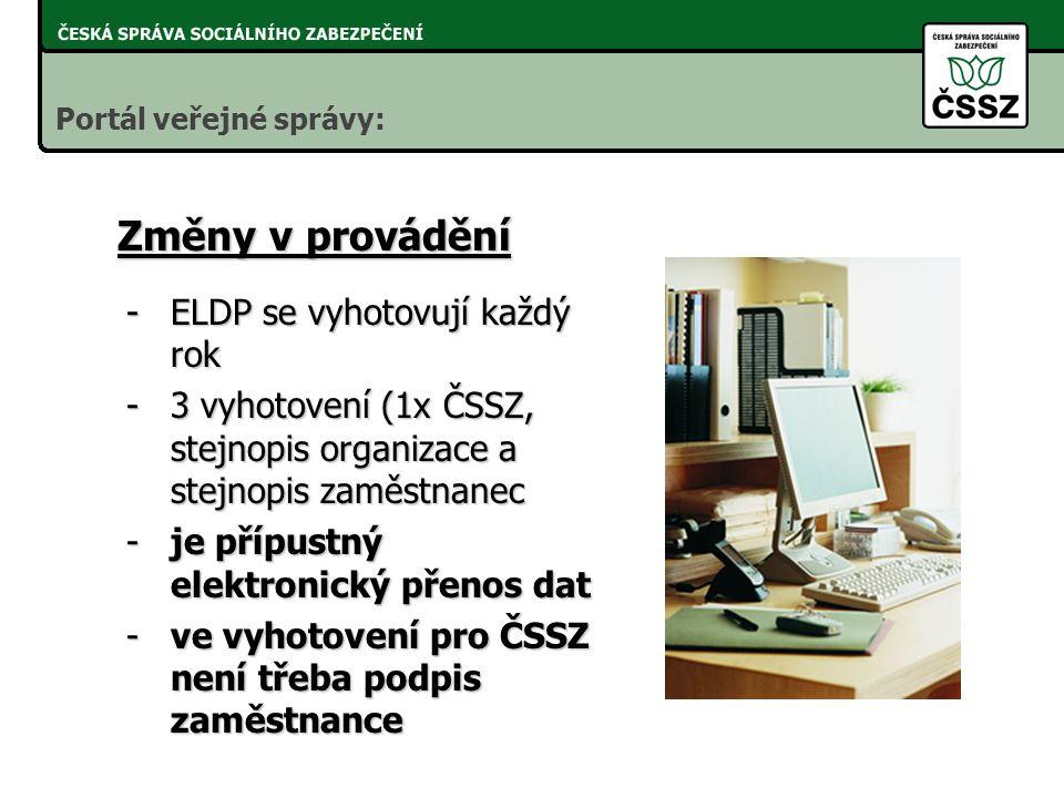 Roční evidenční listy důchodového pojištění - RELDP - zákon č. 424/2003 Sb., (technická novela zákona č. 582/1991 Sb.) -účinnost od 1. 1. 2004 Portál