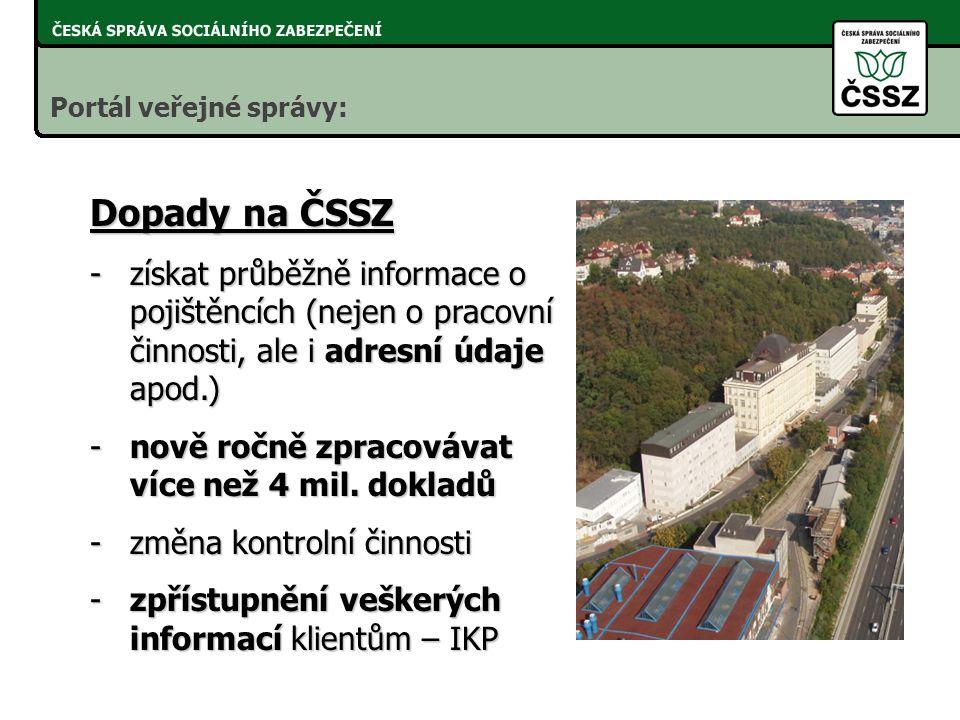 Dopady na ČSSZ -získat průběžně informace o pojištěncích (nejen o pracovní činnosti, ale i adresní údaje apod.) -nově ročně zpracovávat více než 4 mil.