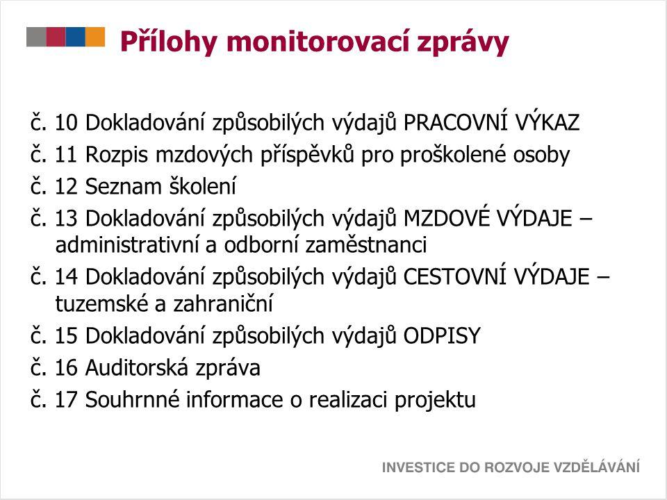 Přílohy monitorovací zprávy č. 10 Dokladování způsobilých výdajů PRACOVNÍ VÝKAZ č.
